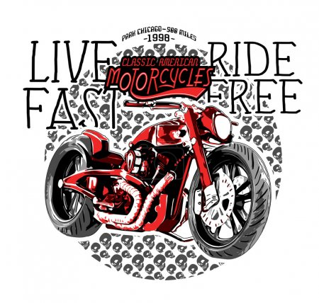 Motorcycles and typography illustration