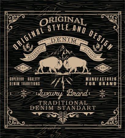 Illustration pour Impression de design classique vintage tee print - image libre de droit