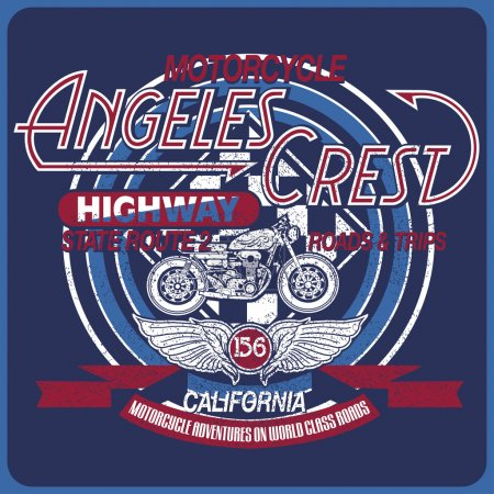 Vintage motorcycle, California typography