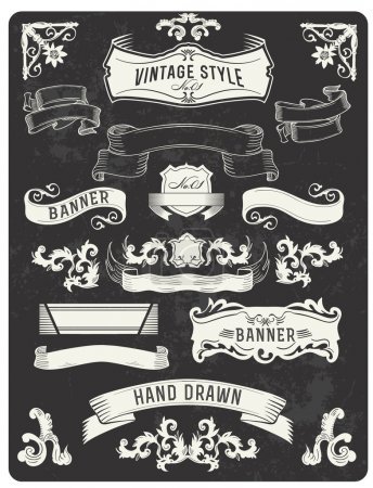 Retro vintage banner and ribbon set