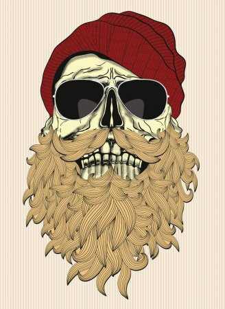 Skull with brown beard in red hat