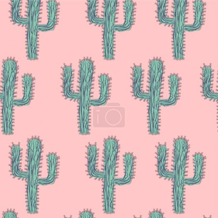 Illustration for Seamless soft mint and green cactus forest illustration background pattern in vector - Royalty Free Image