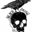 Crow sitting on Skull sketches in black and white ...