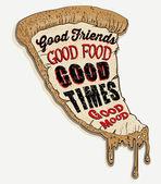 Illustration pizza and slogans