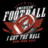 American Football I got the Ball New York City  American football logo label illustration