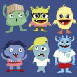 Collection of Cartoon cute monsters on blue backgr...