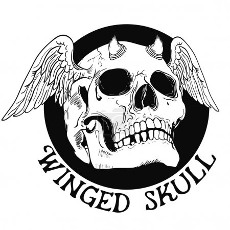 Two Faced Skull With Wings