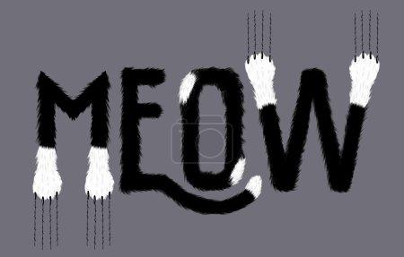 Illustration pour Meow signe graphique de chat noir et blanc pour t-shirt - image libre de droit