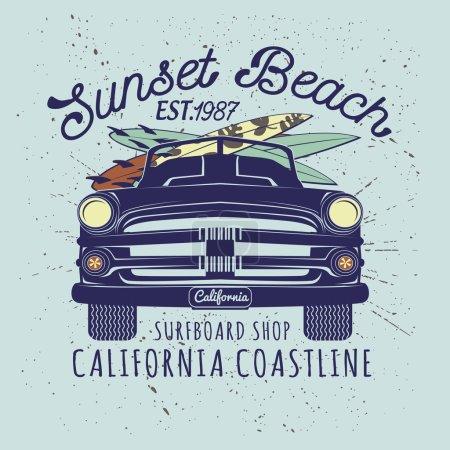 Surf Illustration with retro car