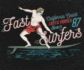 illustration on the theme of surfing in California