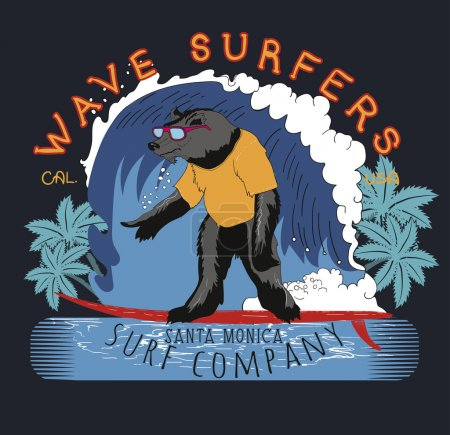 Surfer bear on surfboard