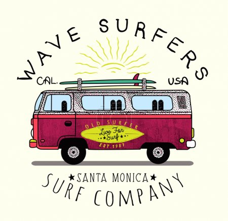 Illustration pour Wave Surfers. Santa Monica Surf Company. Van Surf Illustration, T-shirt graphique, vecteur, typographie - image libre de droit