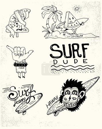Set of vintage surfing and skateboarding