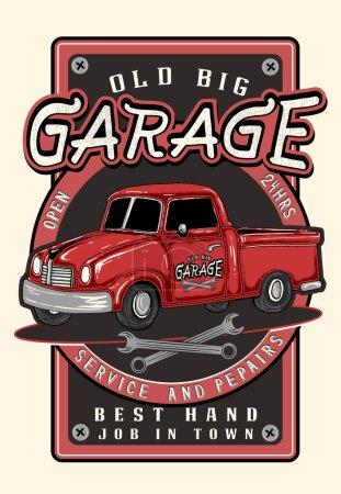 Illustration pour Vintage garage affiche rétro - image libre de droit