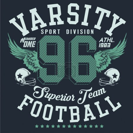 Varsity sport division football  typography