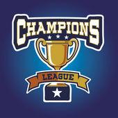 Champion sports league logo emblem badge graphic with trophy