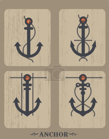 Heraldic set of ships anchor icons