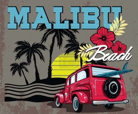 Malibu Beach with Van Surf Illustration