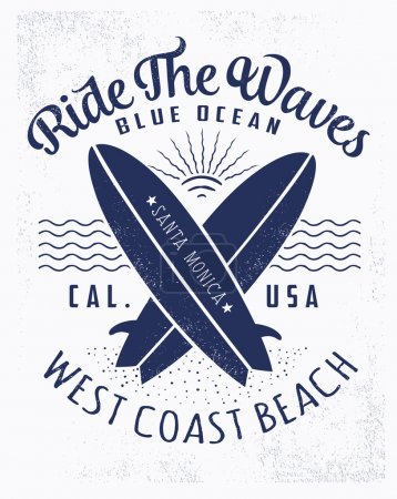 Illustration for Ride The Waves Surf typography, t-shirt graphics, vector - Royalty Free Image