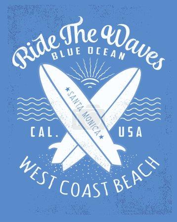 Surf typography, t-shirt graphics