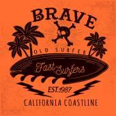 Set of vintage surfing and skateboarding elements