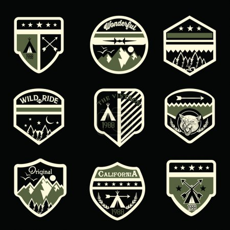 Set of mountain badges and logo patches