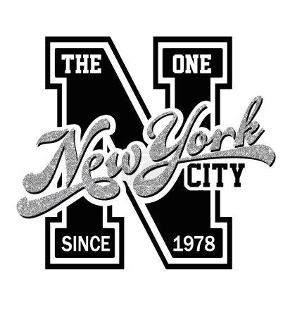 Photo pour New York texte, graphique de varsity pour t-shirt aux couleurs noir et blancs - image libre de droit