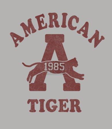 Photo pour Impression de t-shirts, vestes, pulls d'entraînement, américain tiger - image libre de droit