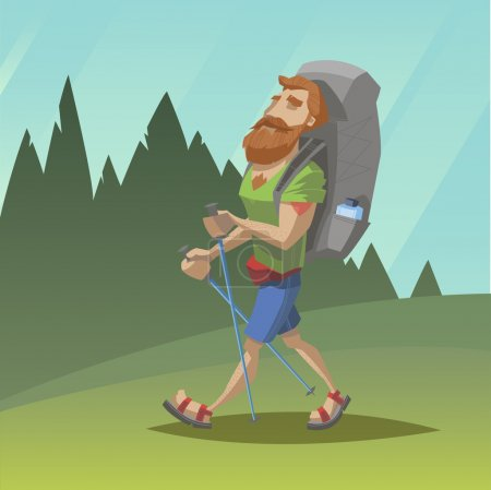 Illustration for Man with red beard walk through the field - Royalty Free Image