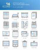Detailed thin line icons Office supplies and stationery items Set 1