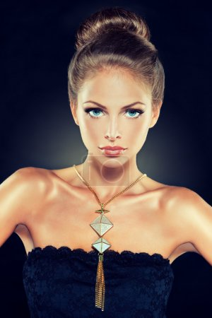 blond female model with  jewellery accessory