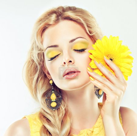 woman with yellow make up