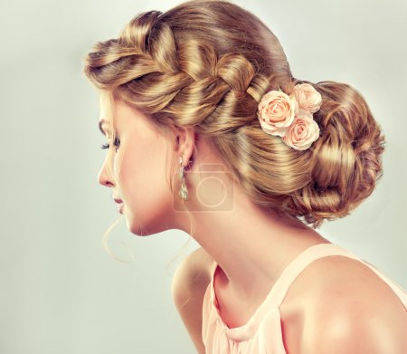blond woman with with fashion braid