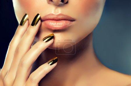 female model with  golden make-up