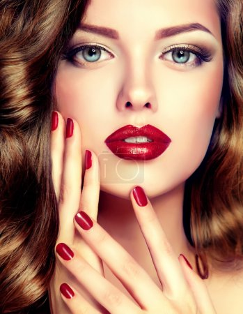 female model with fashion make-up and manicure