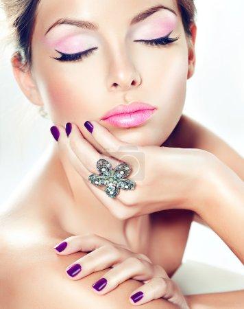 beautiful model with purple make-up
