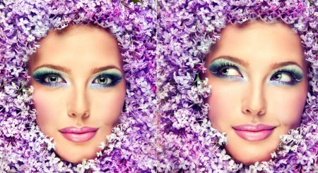woman face in lilac flowers