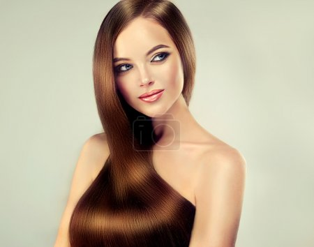 girl with long straight smooth hair