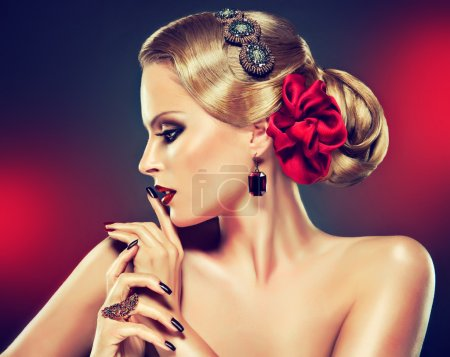 blond woman with fashion make-up