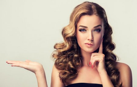 Model girl with wavy hair and  make up