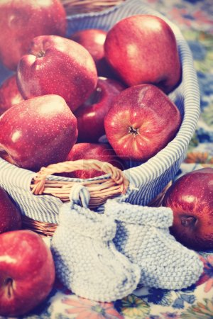 red apples with baby booties