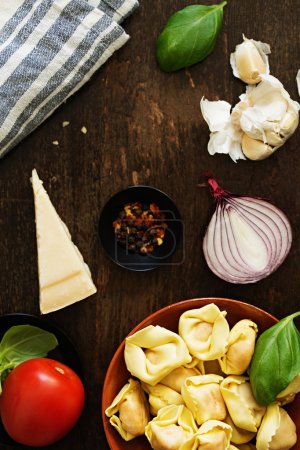 Photo for Delicious ingredients for healthy vegetarian pasta. Cooking Concept - Royalty Free Image