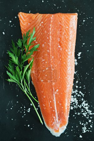 Salmon Fillet with Salt and Parsley