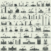 vector line capital city collection set