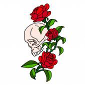 Skull with roses on a white background Skull icon Skull logo Skull art Skull card Skull poster Cartoon skulls Vector Skull Skull illustration Skull Tattoo Skull rose Skull rose tattooSkull