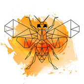 Low poly bee on orange watercolor