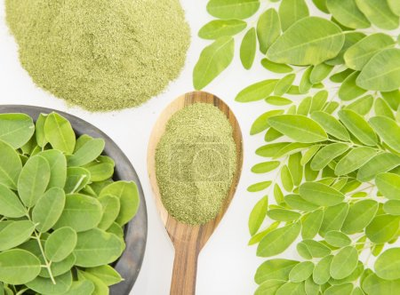 Moringa leaves and powder on white background