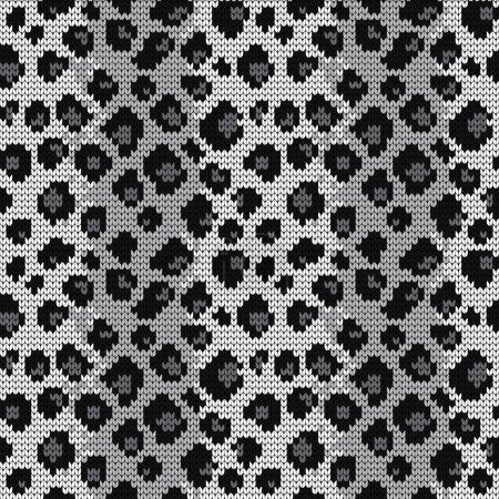 Knitted seamless pattern leopard spots