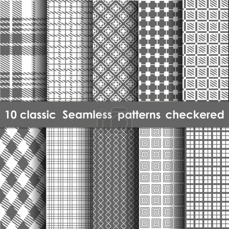 Illustration for Set of 10 classic seamless checkered patterns. Whate and grey colors - Royalty Free Image