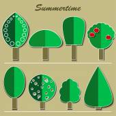 set of summer trees